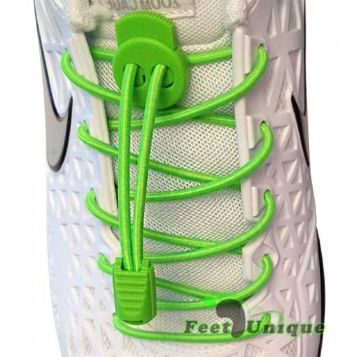 Elastische neon-grüne Schnürsenkel mit Schnellverschluss
