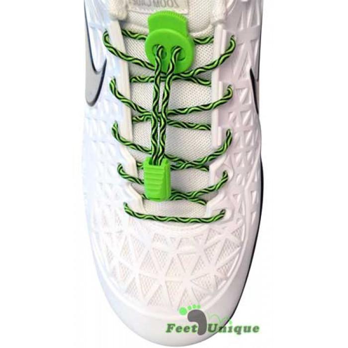 Elastische Schnürsenkel mit Schnellverschluss in Schwarz & Grün