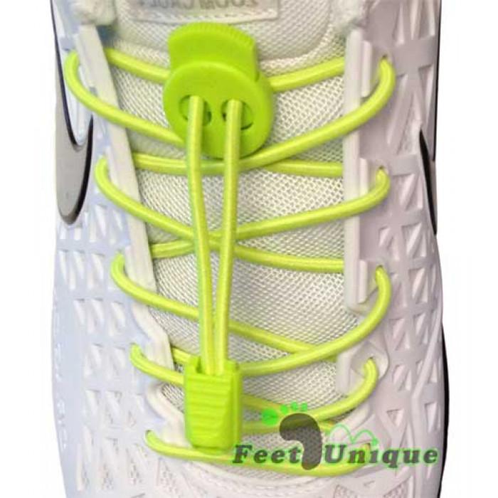 Elastische, neon-gelbe Schnürsenkel mit Verschluss