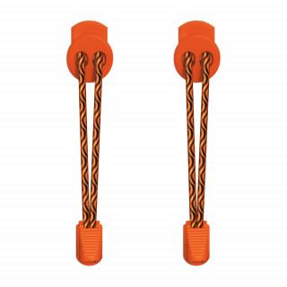 Elastische schwarze und orangene Schnürsenkel mit Verschluss