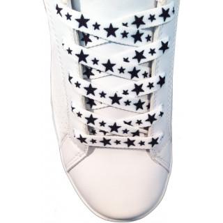 Schnürsenkel - 10mm Weiß mit schwarzen Sternen