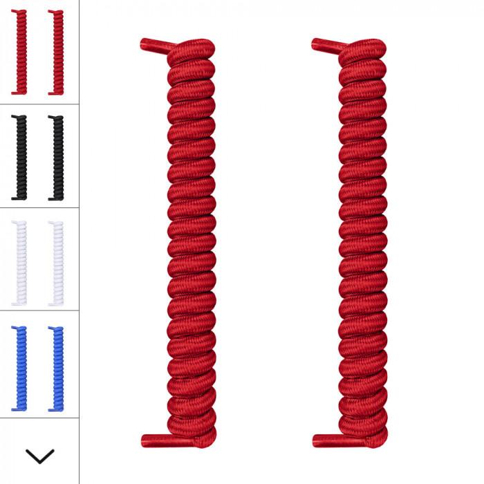 Rote spiralförmige Schnürsenkel