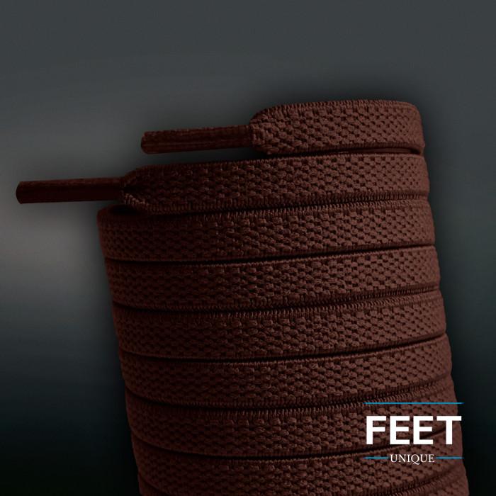 Elastische, flache Schnürsenkel, dunkelbraun (No-Tie)
