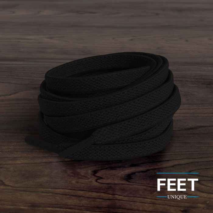 Elastische, flache, schwarze Schnürsenkel (No-Tie)