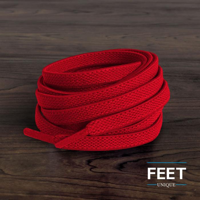 Elastische, flache, rote Schnürsenkel (No-Tie)