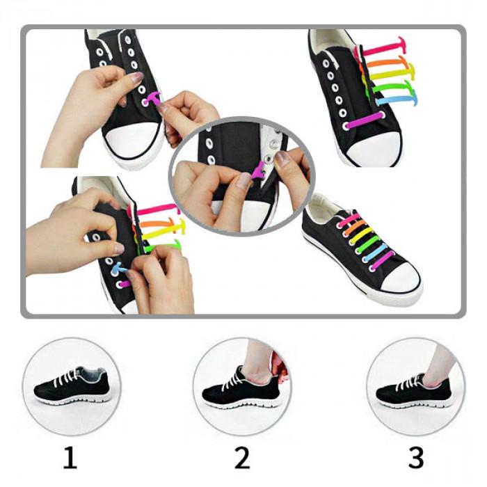 Neongrüne elastische Silikon-Schnürsenkel